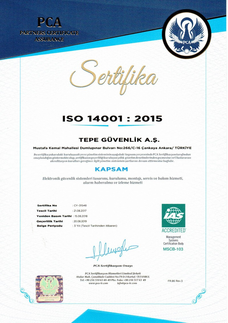 Tepe Security ISO 14001