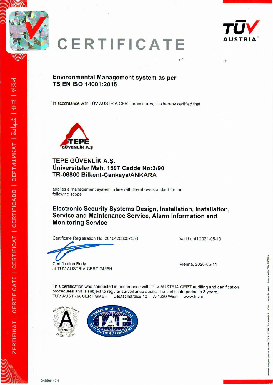 Tepe Security ISO 14001 - EN