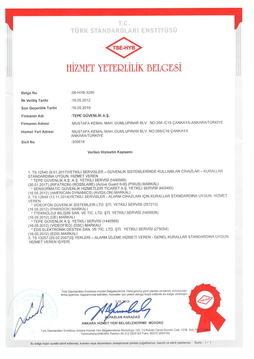 TSE Service Qualification Certificate